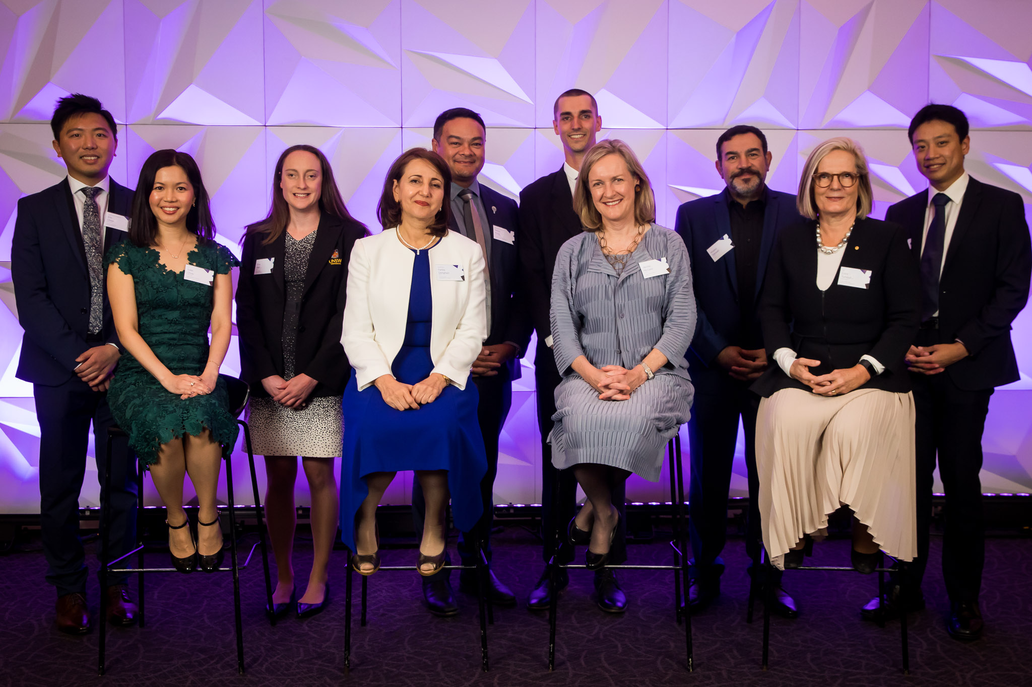 (2019 UNSW Alumni Award recipients: back, from left, Associate Professor Eric Chow, Prue Watt OAM, Associate Professor Kelvin Kong, Brody Smith, Khaled Sabsabi and Ke Sun, and front, from left, Dr Edith Chow, Professor Fariba Dehghani,  Jacinta McCann and  Dr Lucy Turnbull AO (2018 winner).)
